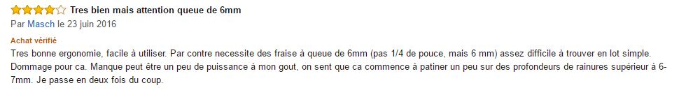 Commentaire Amazon sur la Makita 3709